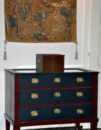 The very first chest of drawers I painted (and added new metal fittings)