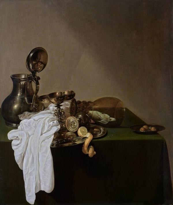 Uyl Jan Jansz. den (1595/96–1639) Frühstück mit Zinnkanne 1635 Öl auf Holz GE808 Breakfast with Pewter Jug Petit déjeuner à la cruche d'étain